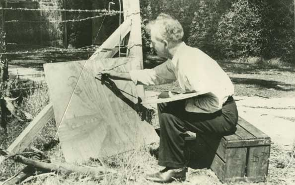Photograph of Horace Trenerry, painting