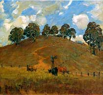 Landscape with hill and cattle