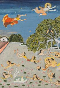 Jallandharnath and Princess Padmini fly over King Padam's palace