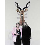 Michael Zavros 'Portrait of Stephen Mori, with Wyn Schubert and my Greater Kudu'