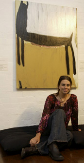 Karlee Rawkins in front of her work 'Bitch in India'