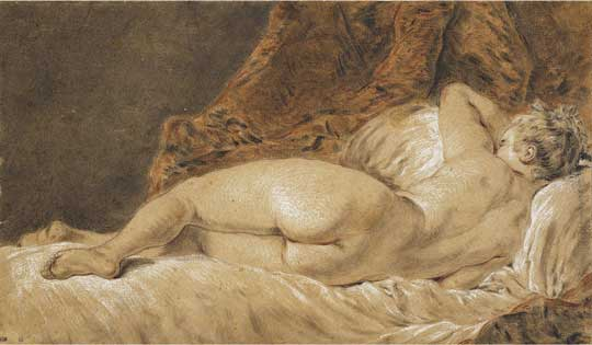 Francois Boucher, Paris 1703, - Paris 1770, Recumbent woman seen from behind