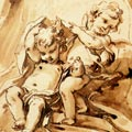 Fran�ois Boucher Project for a frontispiece: a group of putti around a drapery (detail)