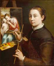 Sofonisba Anguissola, Self-portrait at the Easel Painting a Devotional Panel, 1556