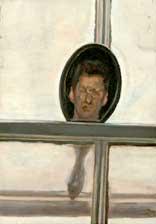 Lucien Freud, Interior with hand mirror (self-portrait)